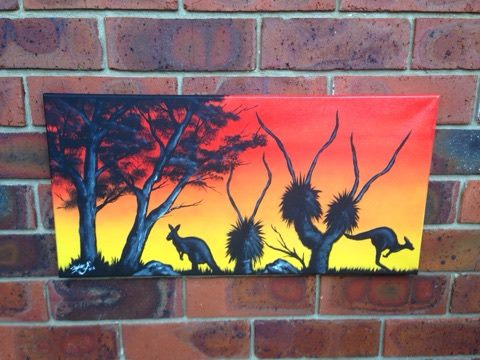 Indigenous sunset Painting On canvas with acrylic Paint