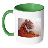 Tiger Accent Mug 11oz - Available in a Wide Range of Colours