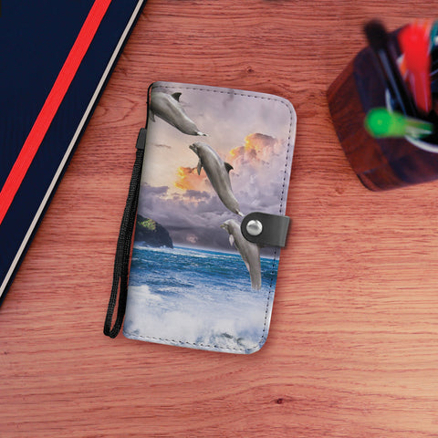 Jumping Dolphins Wallet Phone Case