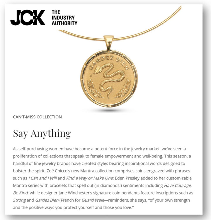 Jane Winchester in JCK - Gold: Message Jewelry, Sofia Zakia's Frida Kahlo Homage & More