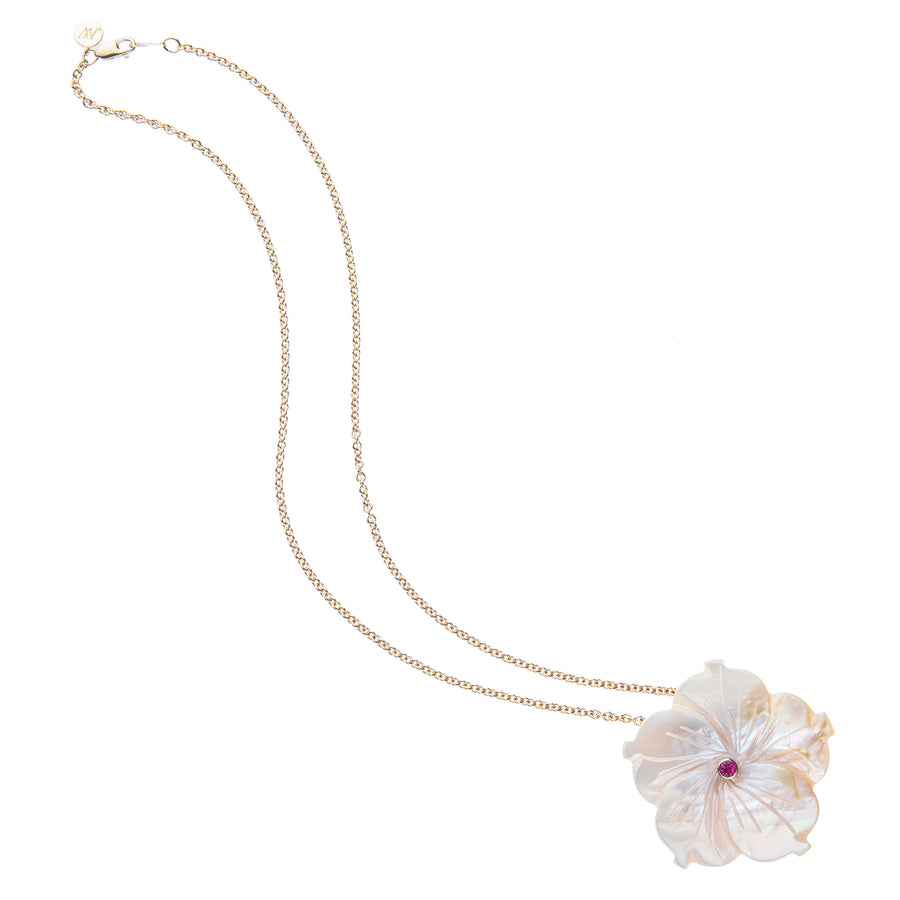 JOY Mother of Pearl Camellia Flower Pendant