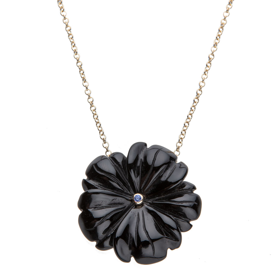 JOY Black Onyx Flower Necklace