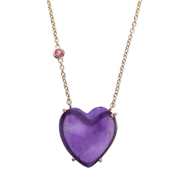 LOVE Amethyst Heart Necklace with Gold Setting Sale