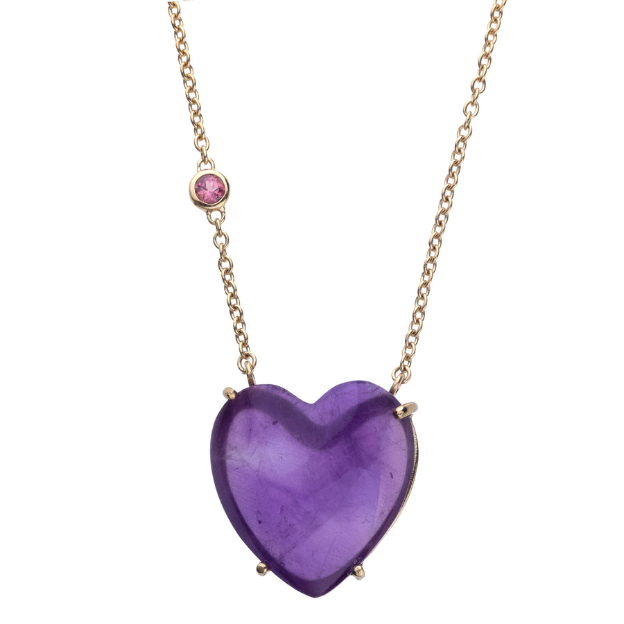 LOVE Amethyst Heart Necklace with Gold Setting