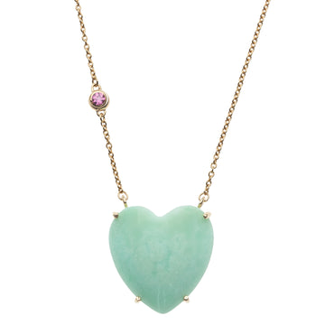 LOVE Chrysoprase Heart Necklace with Gold Setting SALE