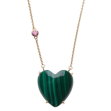LOVE Malachite Heart Necklace with Gold Setting SALE