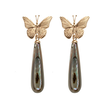 FREEDOM Butterfly Drop Earrings: Black Mother of Pearl and 10k Gold