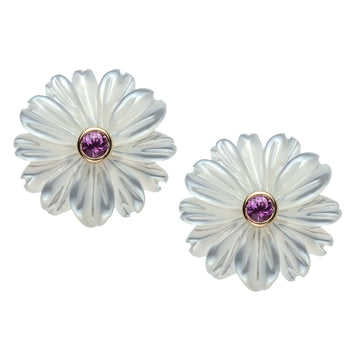 JOY Flower Bud Earrings in White Mother of Pearl