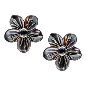 JOY Flower Bud Earrings in Black Mother of Pearl