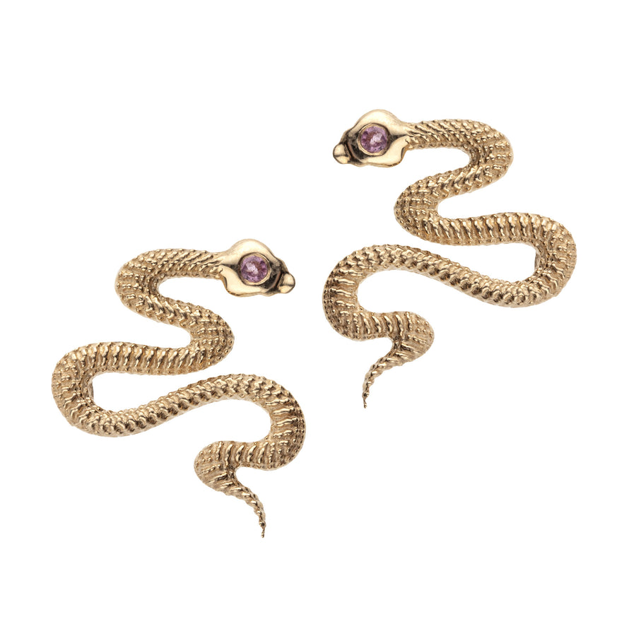 PROTECT Snake Stud Earrings 10k Gold