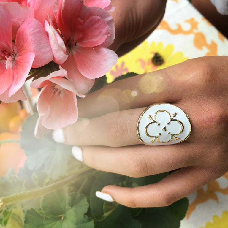 Love Shield Ring with White Enamel