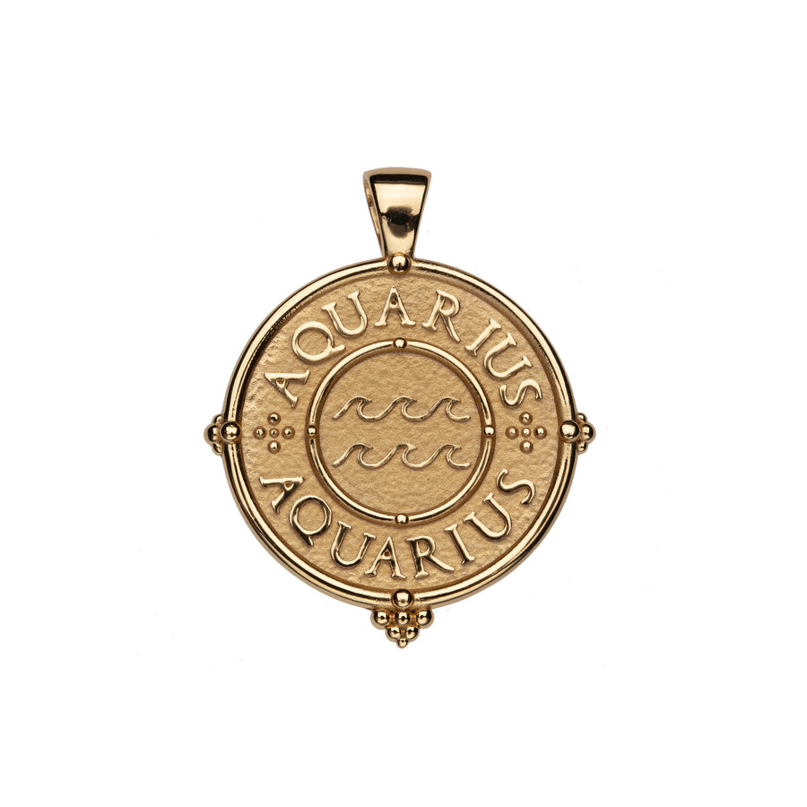 AQUARIUS JW Zodiac Pendant Coin - Jan 20 - Feb 18