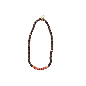 Brown x Coral Puka Shell Necklace V2