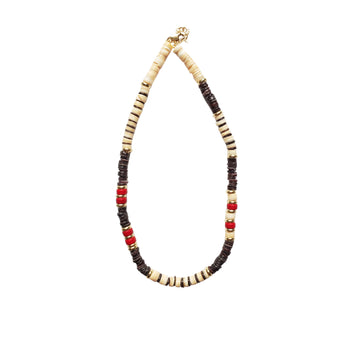 Brown x Coral Puka Shell Necklace V4