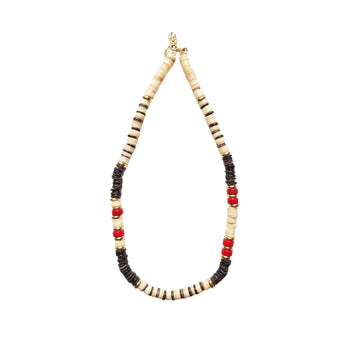 Brown x Coral Puka Shell Necklace V5