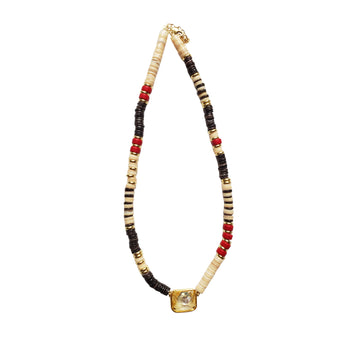 Brown x Coral Puka Shell Necklace with Yellow Stone