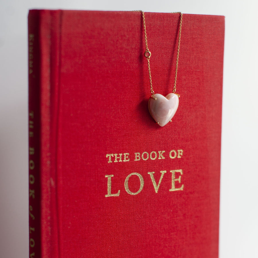 LOVE Pink Opal Heart Necklace with Gold Setting SALE