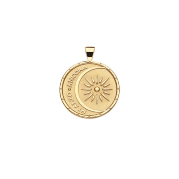STRONG JW Small Pendant Coin in Solid Gold (Mi Alzo Ancora)