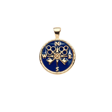 FOREVER JW Small Pendant Coin in Navy Enamel