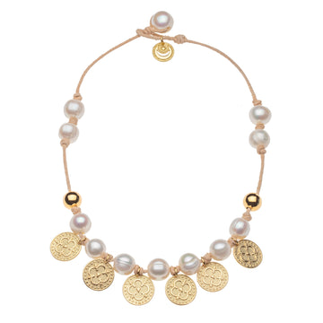 Moneta and Pearl Beaded Necklace (STRONG Collection)