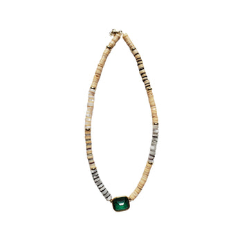 Natural x Pearl Puka Shell Necklace with Green Stone