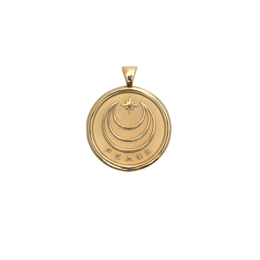 PEACE JW Small Pendant Coin in Solid Gold