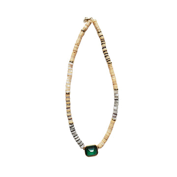 Pearl Puka Shell Necklace with Green Stone