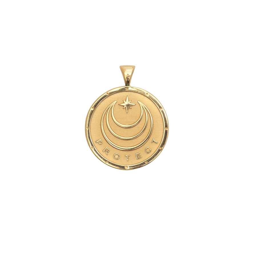 PROTECT JW Small Pendant Coin in Solid Gold