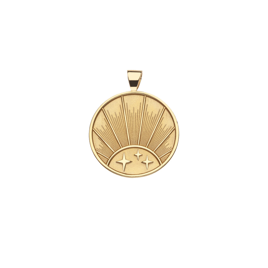 STRONG JW Small Pendant Coin in Solid Gold (Rising Sun)