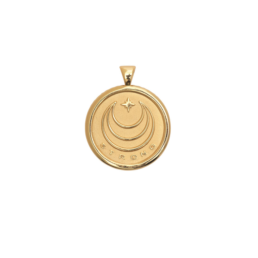 STRONG JW Small Pendant Coin in Solid Gold