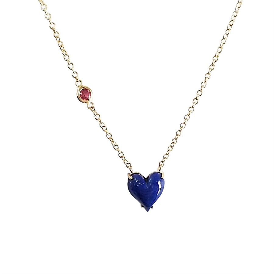 LOVE Petite Carved Heart Pendant 14k Gold in Lapis