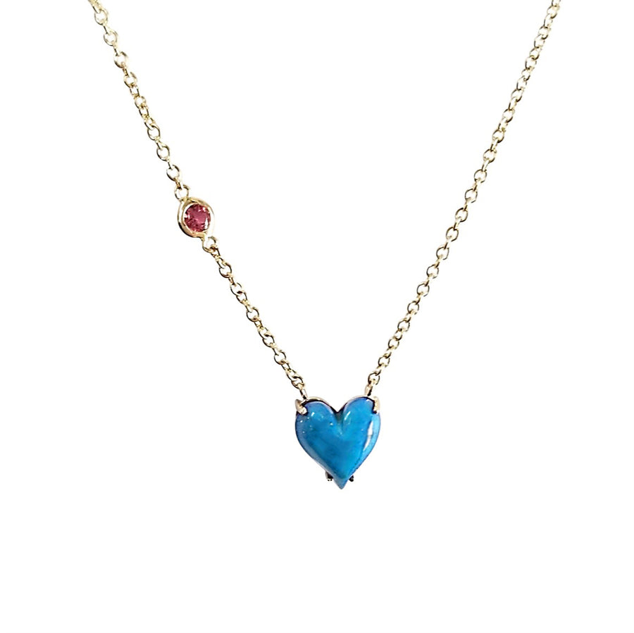 LOVE Petite Carved Heart Pendant 14k Gold in Turquoise
