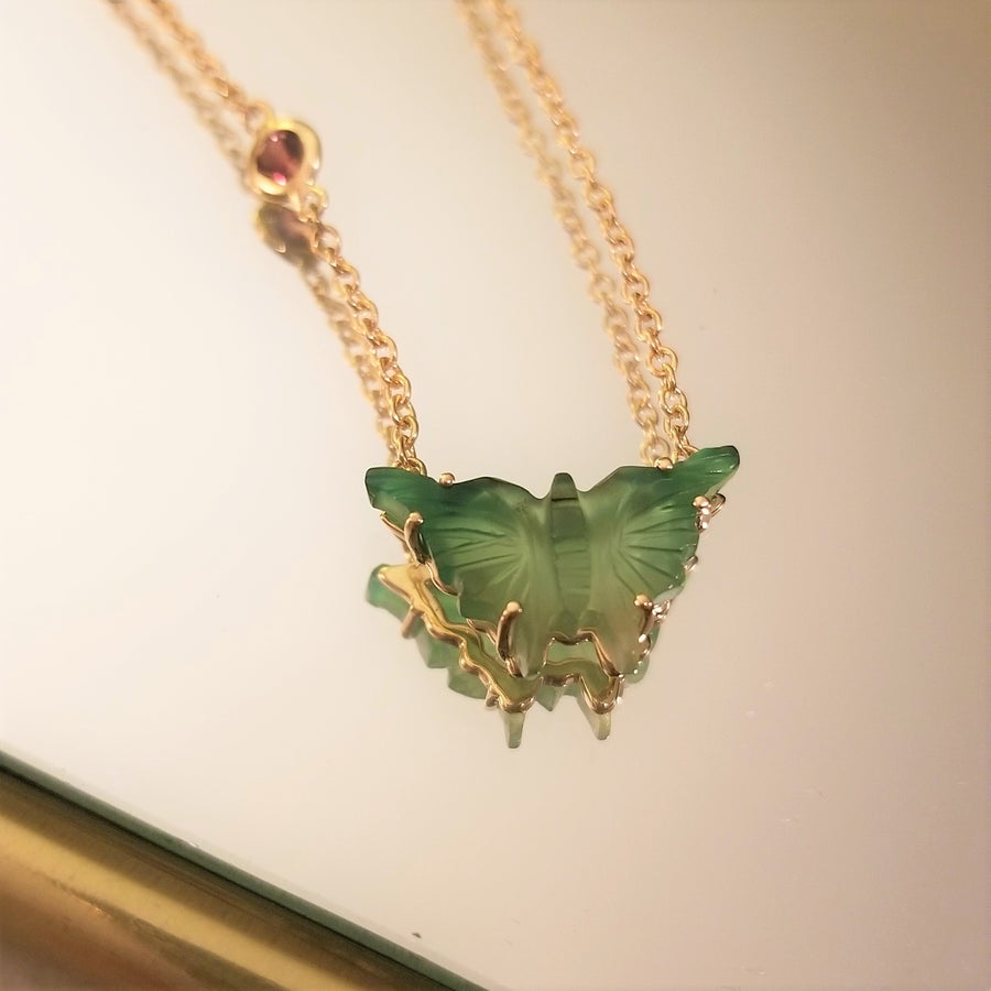 FREEDOM Carved Jade Butterfly Pendant 14k Gold