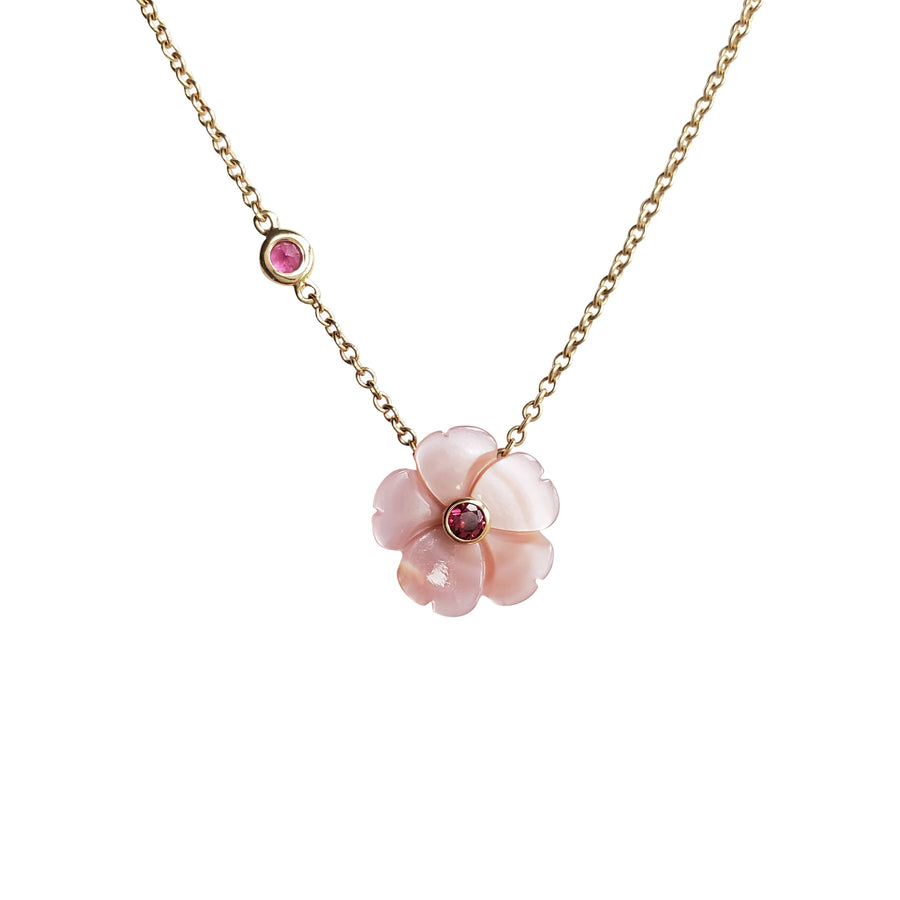 JOY Mother of Pearl Pink Peony Pendant