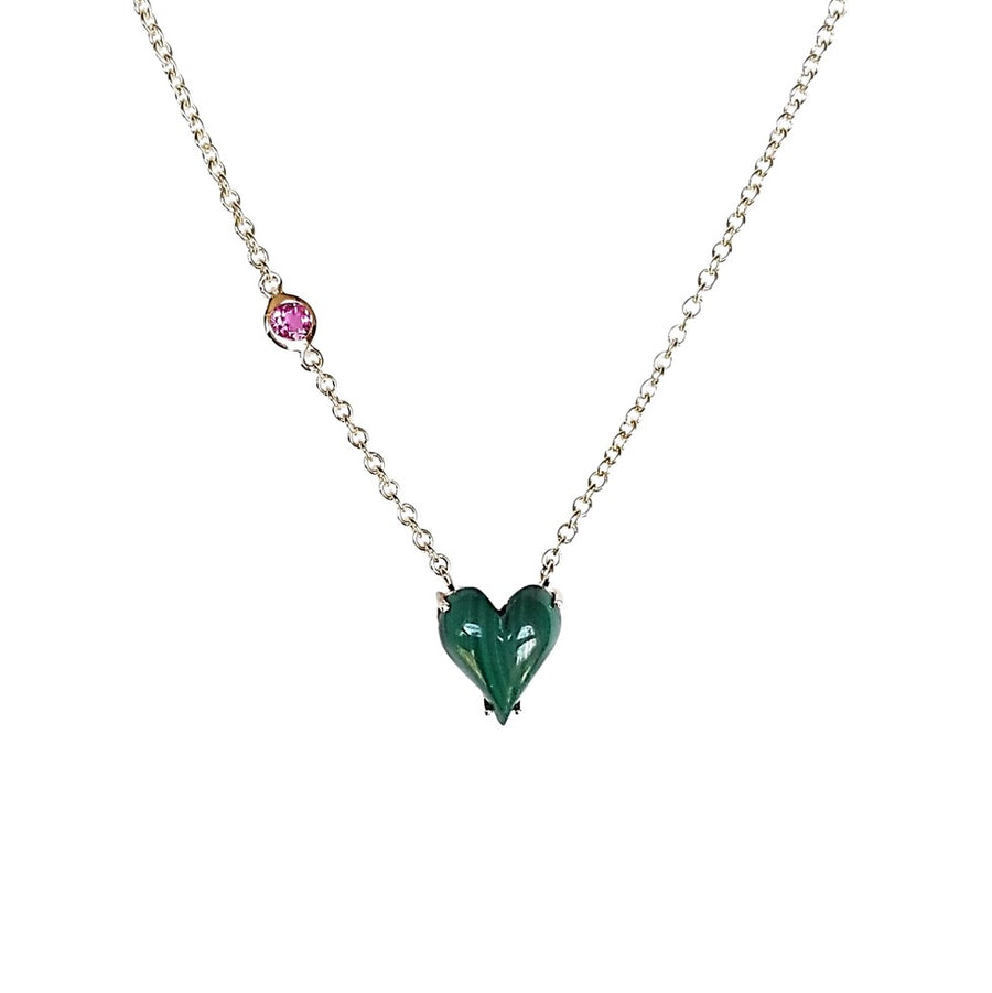 LOVE Petite Carved Heart Pendant 14k Gold in Green Malachite