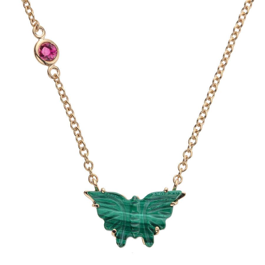 FREEDOM Carved Malachite Butterfly Pendant 10k Gold