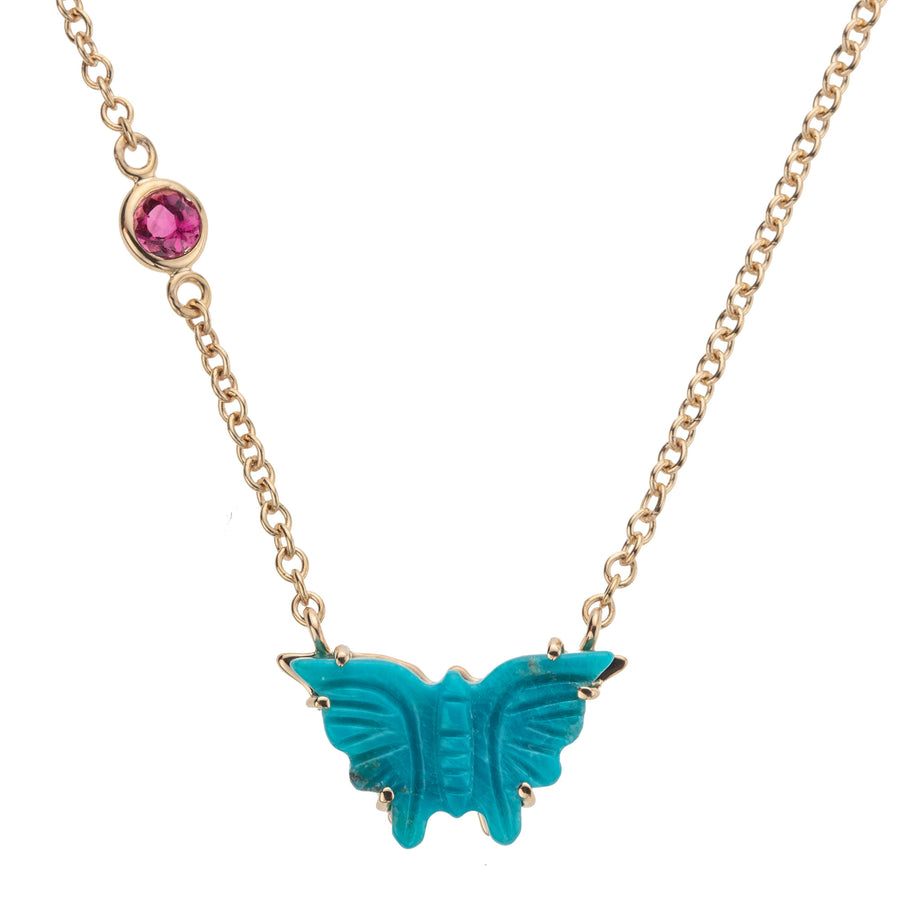 FREEDOM Carved Turquoise Butterfly Pendant 10k Gold