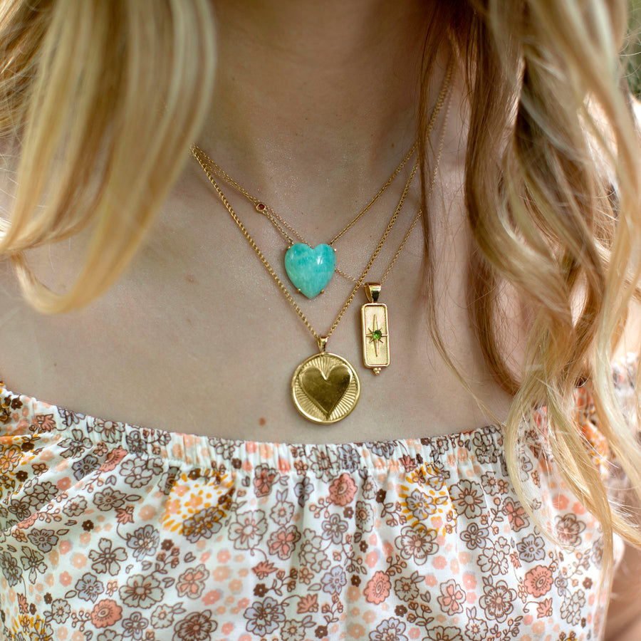 LOVE Amazonite Heart Necklace with Gold Setting SALE