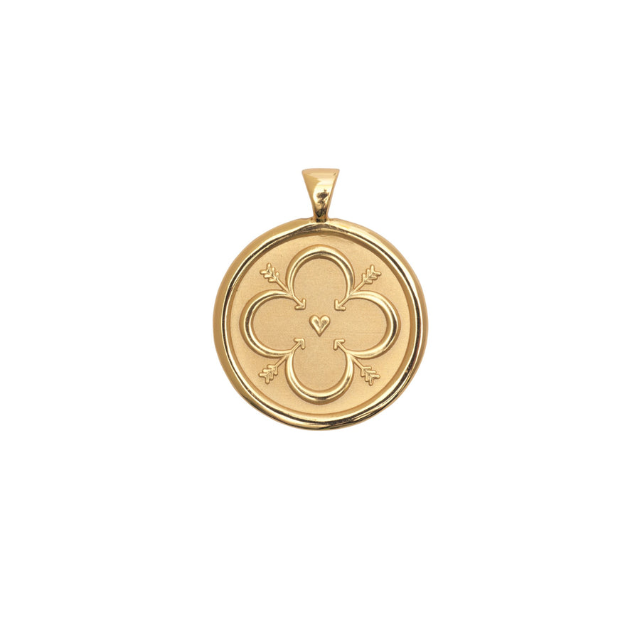 LOVE JW Small Pendant Coin in Solid Gold