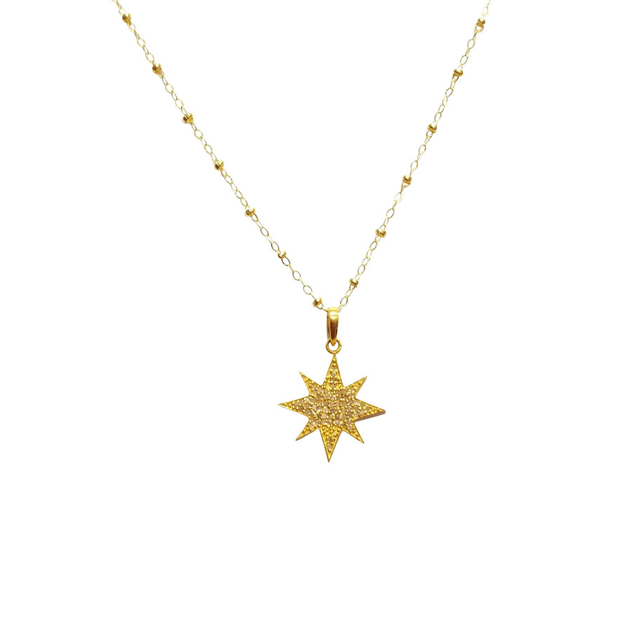 Lucky Star Charm Pendant Necklace with Diamonds