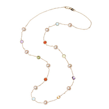 LOVE Pearl and Gemstone Station Necklace