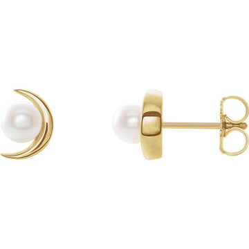 Crescent Moon and Pearl Earrings