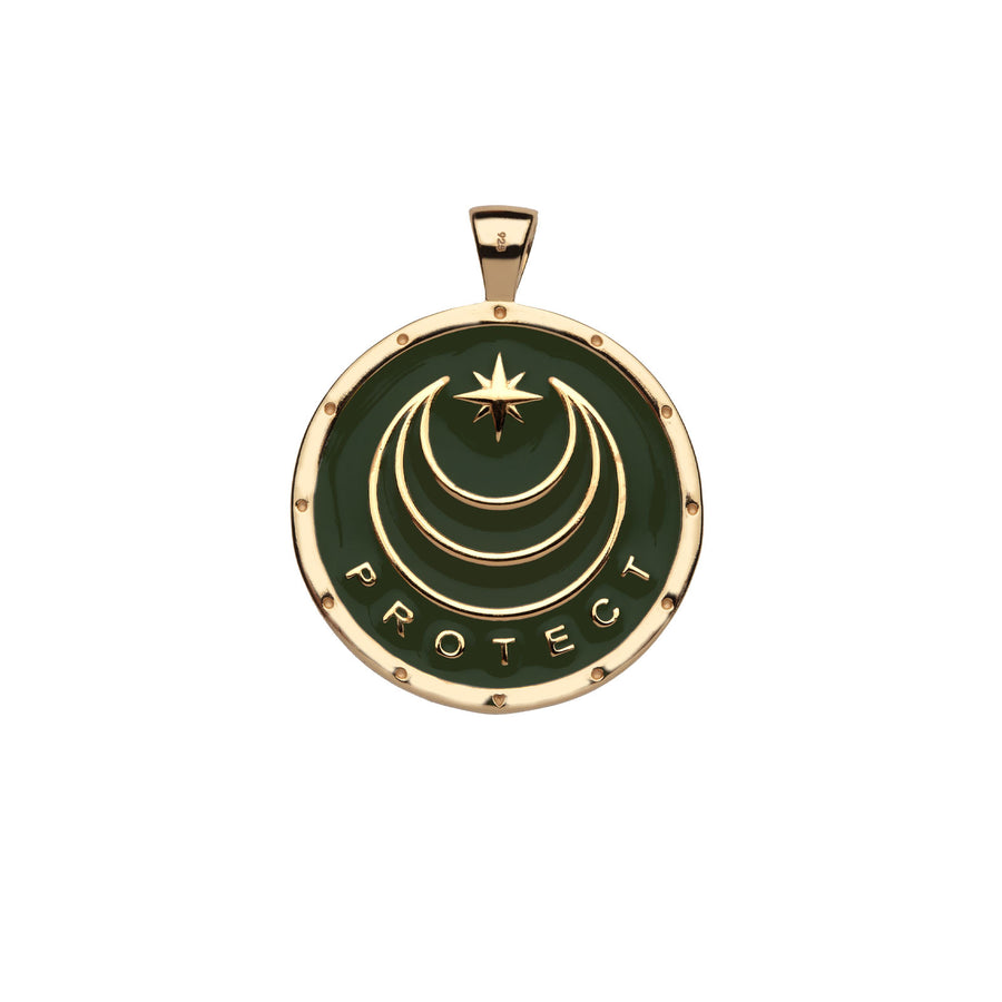 PROTECT JW Original Pendant Coin in Green Enamel