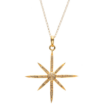 Lucky 8 Point Star Pendant Necklace with Diamonds