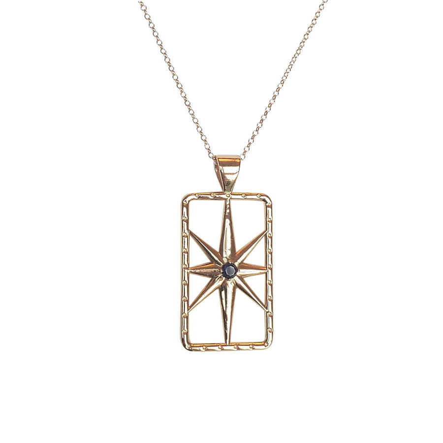 Lucky North Star Pendant Necklace with Sapphire