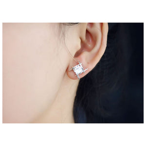Elegant and Charming Black Rhinestone Full Crystals Square Stud Earrings for Women Girls