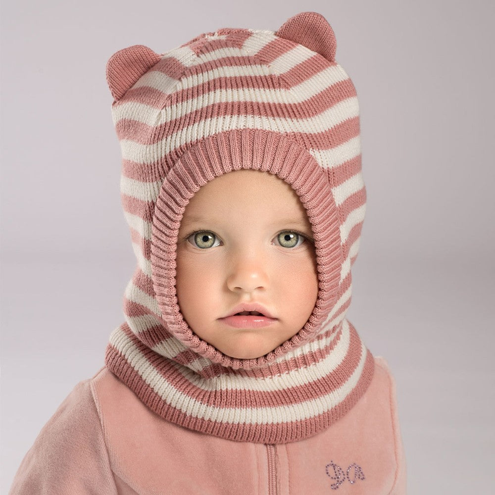DB3759 dave bella  winter baby boy navy striped hat girls pink textile hat with lining