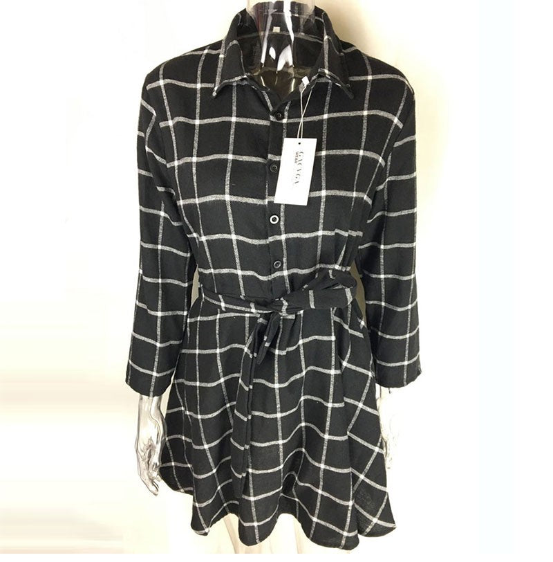 Dress Women Plaid Turn-down Collar Cotton Vestidos Casual Tunic Shirt Dresses Office Dress