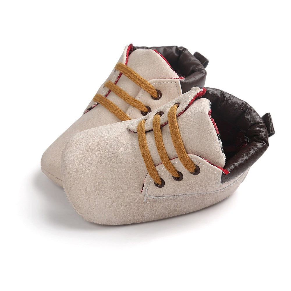 All Seasons Flock Lace-up Baby Shoes Infant Toddler Sneaker First Walkers 0-15 Months Newborn