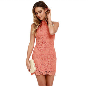 Womens Elegant Wedding Party Sexy Night Club Halter Neck Sleeveless Sheath Bodycon Lace Dress Short